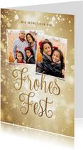 'Frohes Fest' Weihnachtskarte Fotos auf Gold