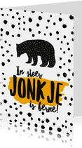 Fryske felicitatiekaart geboorte zoon beer okergeel