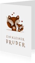 Fuchs-Glückwunschkarte Geburt Bruder/Schwester