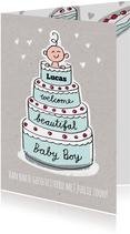 Geboorte felicitatie kaart met jongen in een blauwe taart