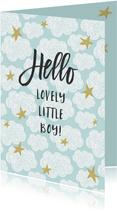 Geboorte felicitatie kaart met wolken en sterren