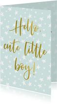 geboorte felicitatie kaart sterren patroon jongen