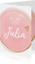 Geboorte felicitatiekaart roze dot en cirkel