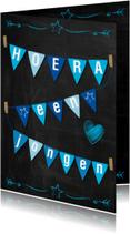 Felicitatiekaarten - Geboorte jongen  schoolbord-ByF