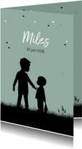 Geboorte kaartje silhouet jongen met broertje
