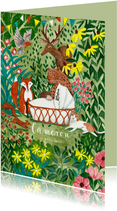 Geboorte kaartje wiegje met dieren in het bos