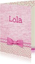 geboorte roze strikje meisje