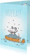Geboortefelicitatie jongen met beschuit met muisjes blauw