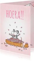 Geboortefelicitatie meisje met beschuit met muisjes roze