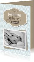 Geboortekaart jongen zigzag foto