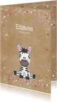 Geboortekaartjes - Geboortekaart lief zebra meisje kraft-stijl