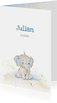 Geboortekaart olifant grijs-blauw jongen