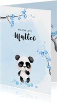 Geboortekaart panda met kersenbloesem -jongen-
