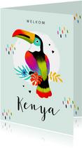 Geboortekaartje adoptie toekan tropisch kleurrijk