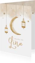 Geboortekaartje Arabisch unisex maan sterren windlicht