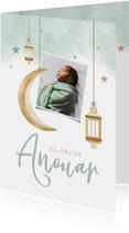 Geboortekaartje Arabisch windlichtjes maan sterren