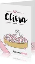 Geboortekaartjes - Geboortekaartje beschuit met muisjes roze