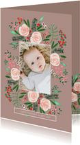 Geboortekaartje bloemen botanisch
