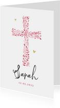 Geboortekaartje christelijk meisje roze hartjes goud foto