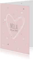 Geboortekaartje eenvoudig hart M