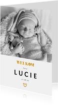 Geboortekaartje foto gouden accenten en  staand