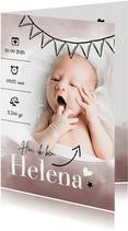 Geboortekaartjes - Geboortekaartje foto roze waterverf & slinger