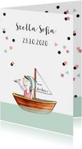 Geboortekaartjes - Geboortekaartje getekend meisje in bootje confetti