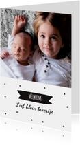 Geboortekaartje hip en sterretjes voor broertje of zusje