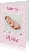 Geboortekaartje honingraat achtergrondkleur aan te passen