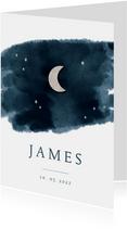 Geboortekaartje houten maan en sterren waterverf