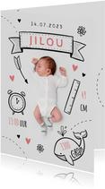 Geboortekaartje illustraties foto doodle hip