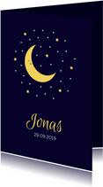 Geboortekaartje in nachtblauw met mooie maan en sterren