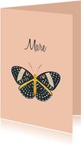 Geboortekaartje in oudroze met prachtige vlinder