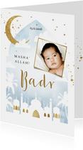 Geboortekaartje islamitisch blauw waterverf moskee goud