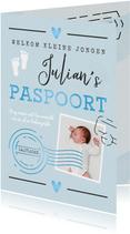 Geboortekaartje jongen paspoort made with love stempels