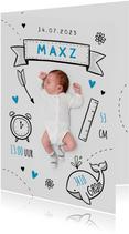 Geboortekaartje jongen stoer illustraties doodle foto