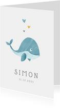 Geboortekaartje jongen walvis hartjes lief illustratie