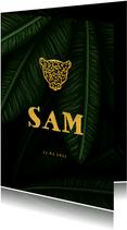 Geboortekaartje jungle bladeren met silhouet panter goud