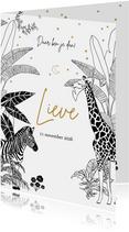 Geboortekaartje jungle thema met zebra en giraffe