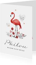 Geboortekaartje meisje flamingo rood hartjes goud