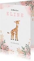 Geboortekaartje meisje giraf waterverf botanisch