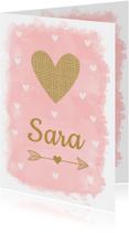 Geboortekaartje meisje waterverf roze