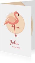 Geboortekaartje met elegante lieve flamingo