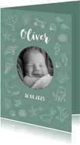 Geboortekaartje met foto en zeedieren