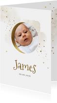 Geboortekaartje met foto, waterverf en maantje in goud