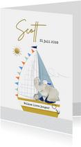 Geboortekaartje met geïllustreerd olifantje in zeilboot
