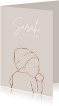 Geboortekaartje met koperlook lijntekening van baby