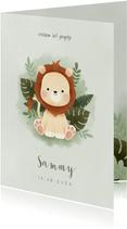 Geboortekaartje met leeuwtje, junglebladeren en waterverf