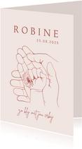 Geboortekaartje met lijntekening handen en madeliefje