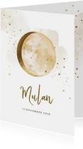 Geboortekaartje met watercolour, maan en sterretjes in goud